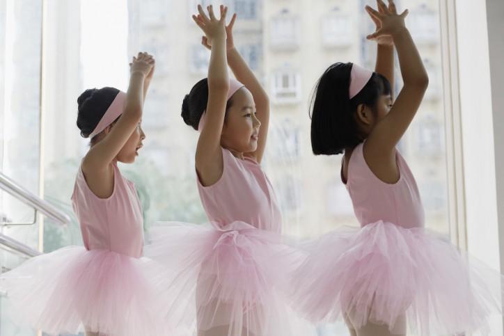 Young Ballerinas in Class --- Image by © Ken Seet/Corbis